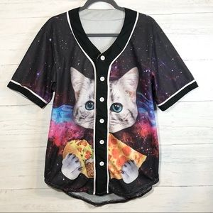 Space taco pizza cat short sleeve jersey